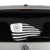American Flag Waving Distressed 3 Percenter Vinyl Decal Sticker