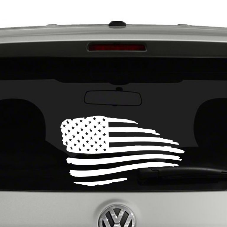 American Flag Waving Distressed Vinyl Decal Sticker