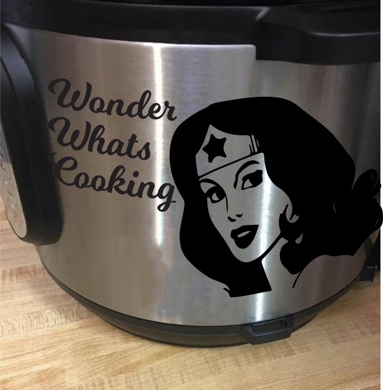 Wonder whats Cooking Woman Inspired Instant Pot Vinyl Decal Sticker