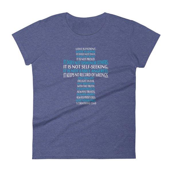 e82590e4 Love is Patient Love is Kind Bible Verse Cross inspirational Women's short  sleeve t-shirt