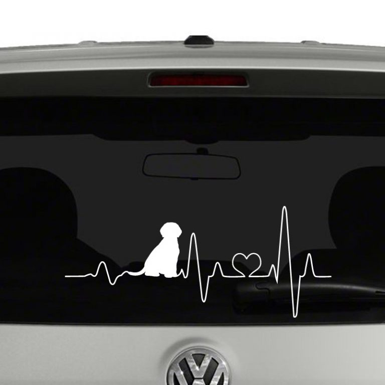 Puppy Heartbeat Dog Lover Heart Vinyl Decal Sticker