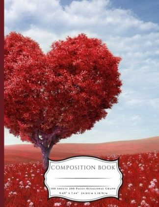 Red Heart Shaped Tree and Red Fields Composition Book: Numbered Blank Paper 200 Pages (100 Sheets) Book (7.44 x 9.69)