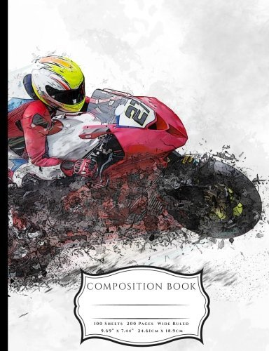 Speeding Race Motorcycle Composition Book