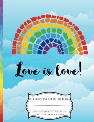 Mossaic Rainbow Love is Love LGBTQ Pride Awarness Composition Book