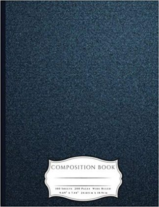 Denim Book Cover Jacket with Pencils and Heart Chain Composition Book