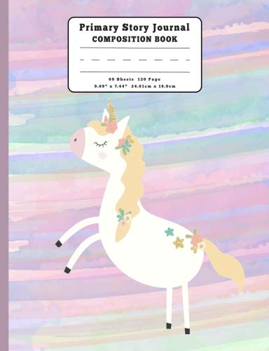 Golden Mane and Stars Unicorn Primary Story Journal Composition Book