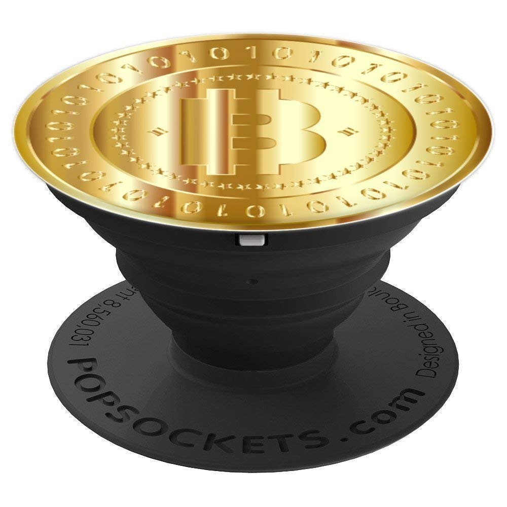 Bitcoin Shiny Gold Bitcoin Coin Ones and Zeros - PopSockets Grip and Stand  for Phones and Tablets