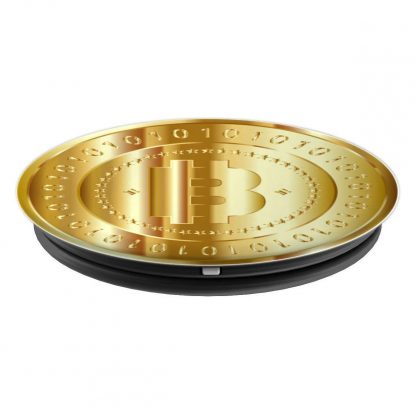 Bitcoin Shiny Gold Bitcoin Coin Ones and Zeros - PopSockets Grip