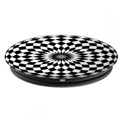 Geometric Checkerboard Black and White Pattern Illusion - PopSockets Grip