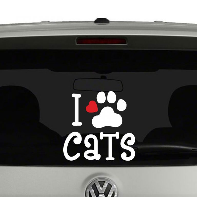 I love Cats Cat Paw with Heart Vinyl Decal Sticker