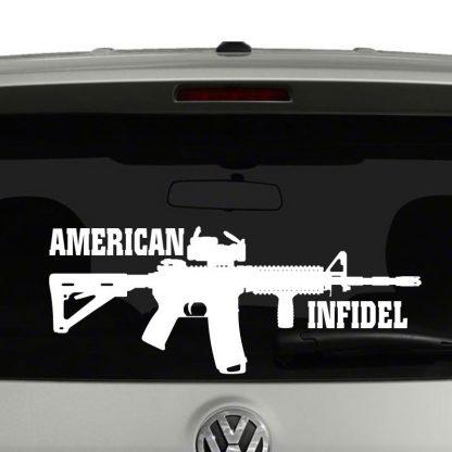 American Infidel AR 15 Rifle Vinyl Car Laptop Decal Sticker