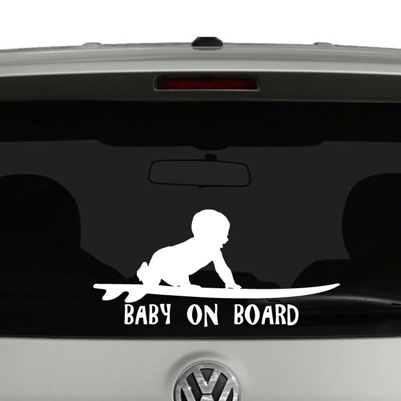 Surfing Baby On Board Surfboard Vinyl Car Decal Sticker