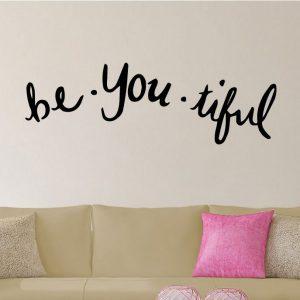 Be You Tiful Beautiful Word Play Inspirational Wall Vinyl Decal