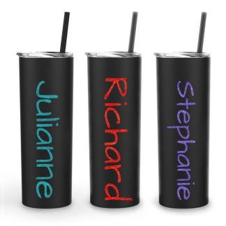 black metal tumbler glitter name