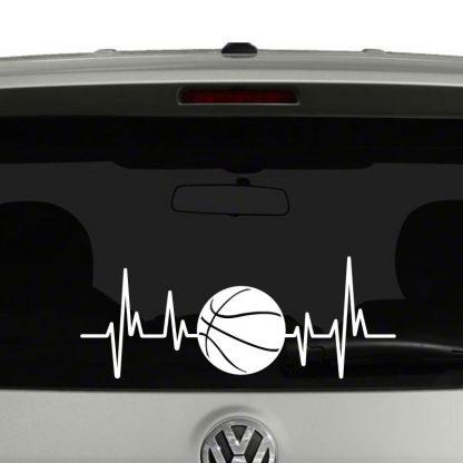 Basketball Heartbeat Basketball Lovers Players Parents Vinyl Decal Sticker