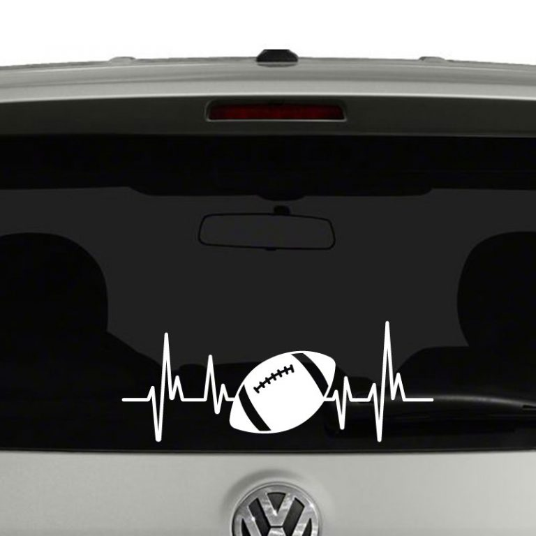 Football Heartbeat Football Lovers Players Parents Vinyl Decal Sticker