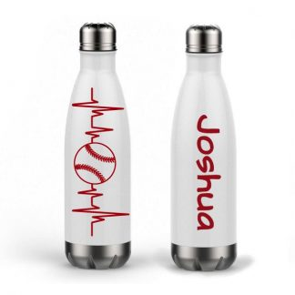 Baseball Heartbeat Personalized Name Custom Double Wall Water Bottle Vinyl 17oz
