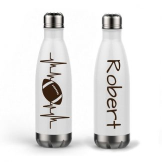 Football Heartbeat Personalized Name Custom Double Wall Water Bottle Vinyl 17oz