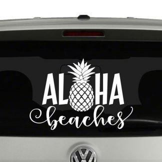Aloha Beaches With Pineapple Word Play Hawaiian Vinyl Decal Sticker