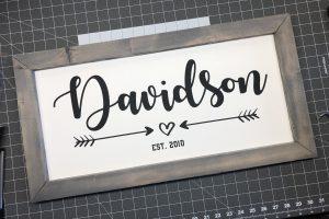 Custom Family Established Wood and Vinyl Sign