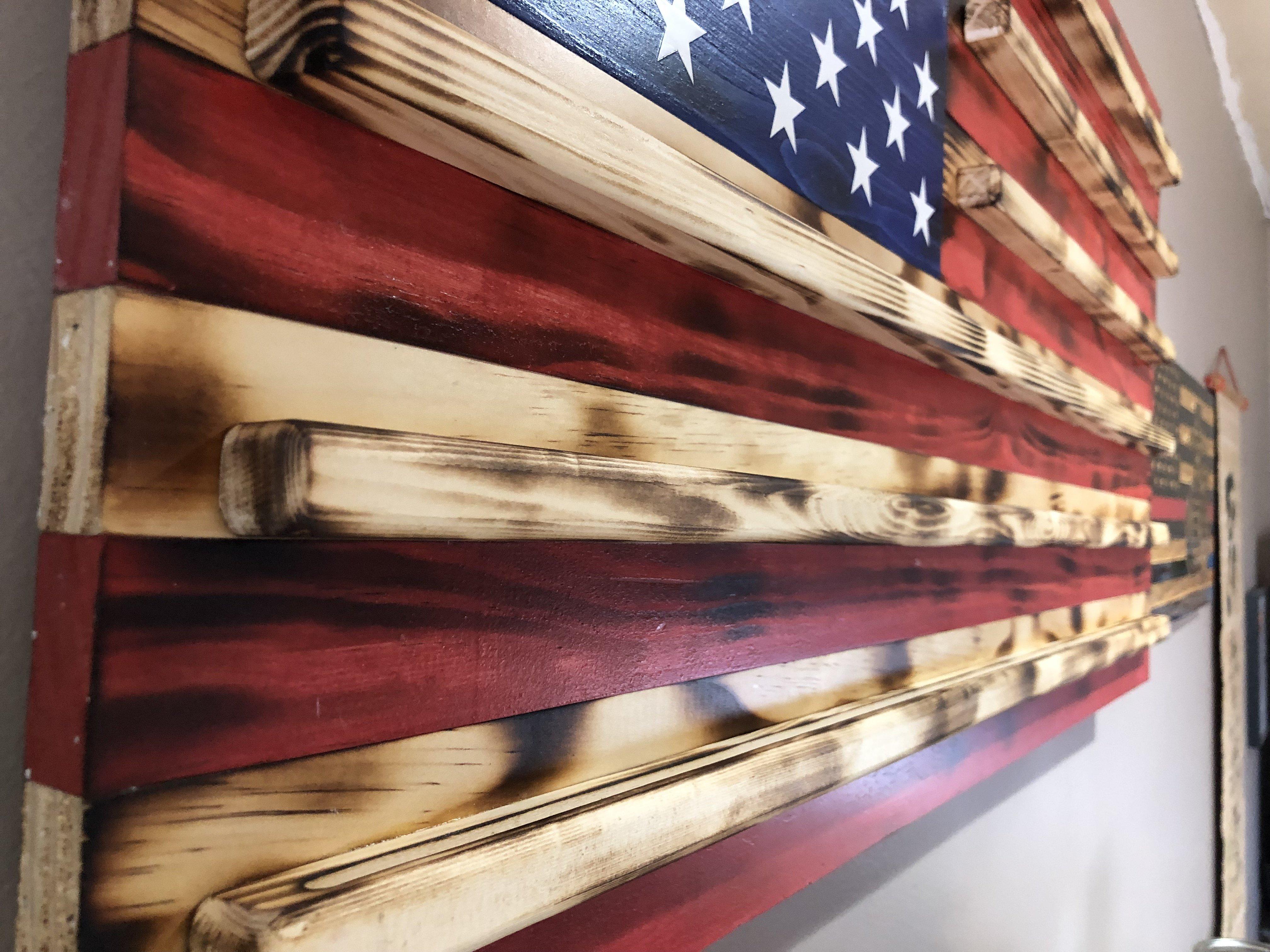 American Wooden Flag 36x19 5 Burnt Natural Black Thin