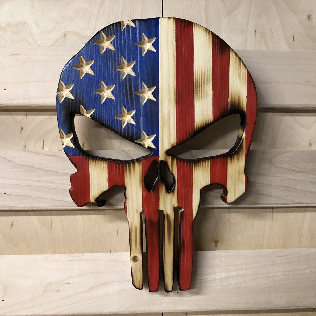 Wooden American Flag Punisher Skull • Cosmic Frogs Vinyl