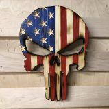 """Wooden American Flag Punisher Skull 10"""""""