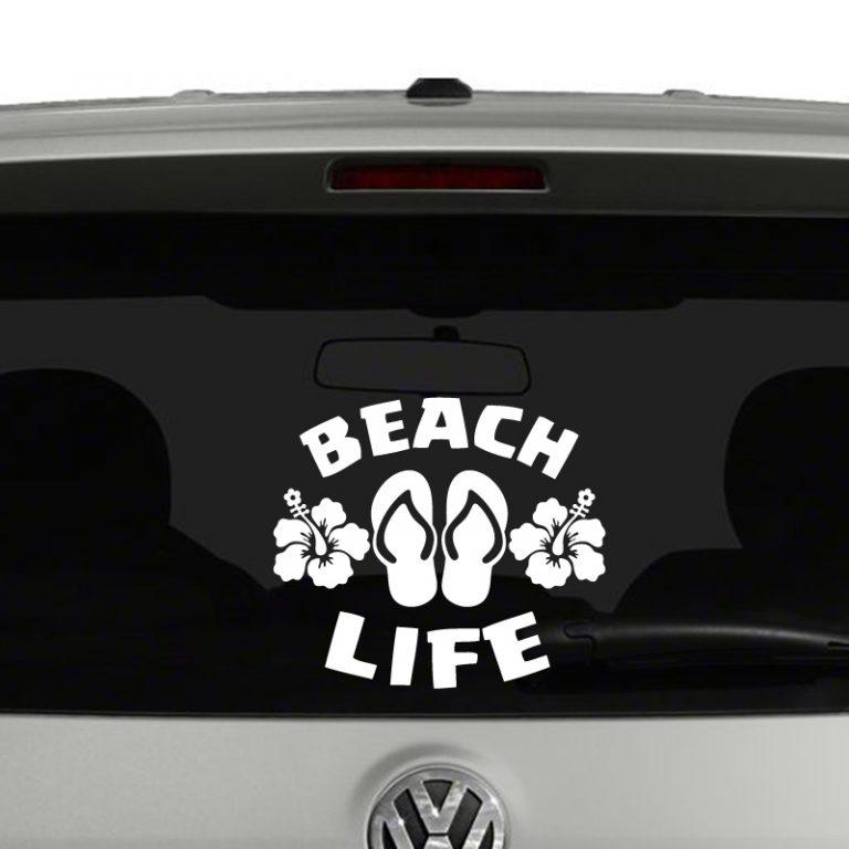 Beach Life Flip Flops and Hibiscus Flowers Vinyl Decal Sticker