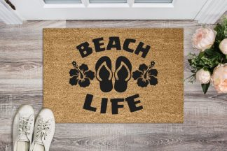 "Beach Life Flip Flops and Hibiscus Floor Welcome Mat 18"" x 30"""