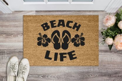 """Beach Life Flip Flops and Hibiscus Floor Welcome Mat 18"""" x 30"""""""