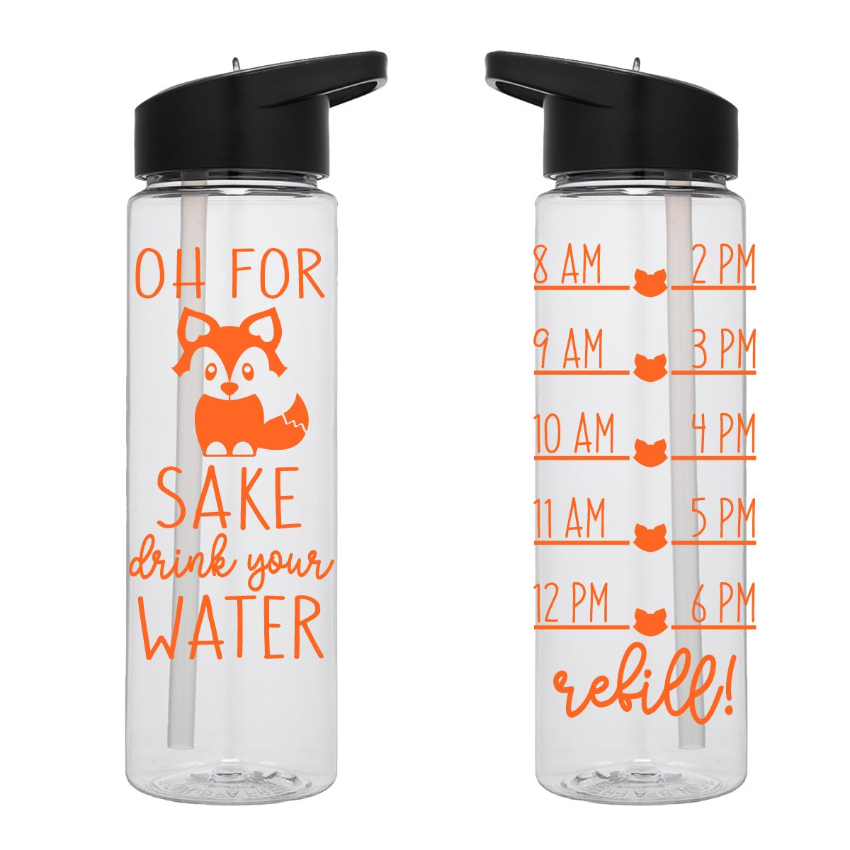 b583919f67 Water Tracker – Oh For Foxs Sake Drink Your Water Water Bottle 24 Oz ...