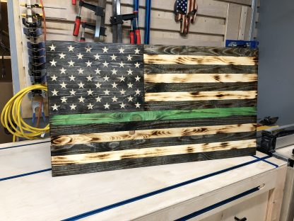 Wooden Thin Green Line American Flag