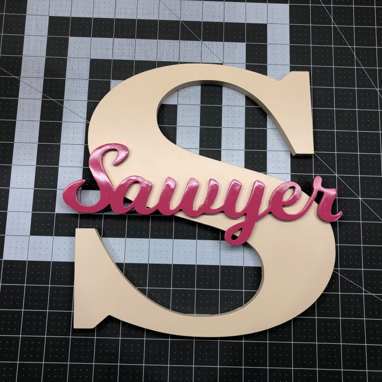 Wooden Letter with Script Name for Nursery or Kids Room