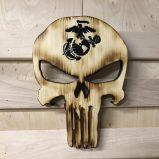 Wooden Carved Burned Natural Punisher Skull With Military Emblem