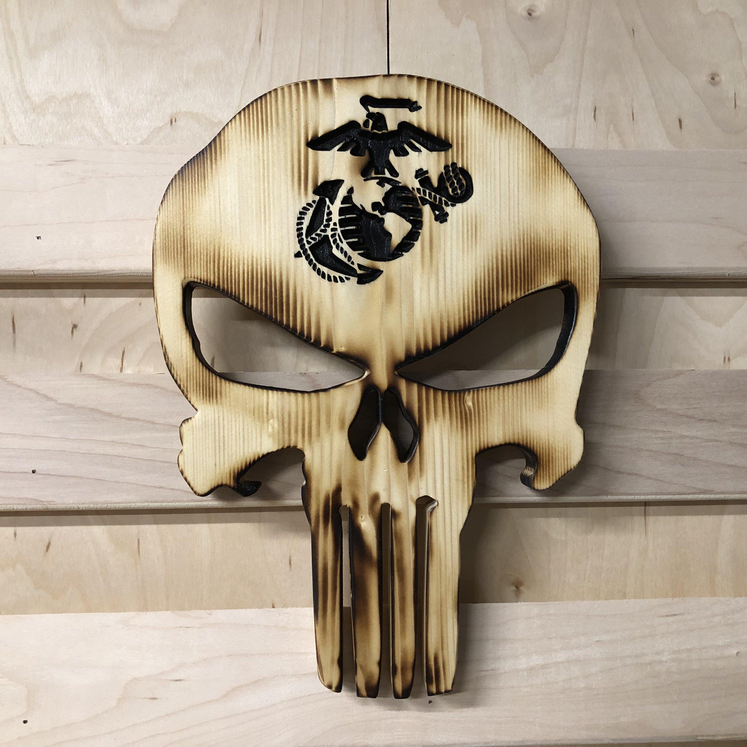Wooden skull head hand carved handmade sculpture decorative