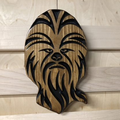 Wooden Carved Burned Stained Star Wars Inspired Chewbacca Head