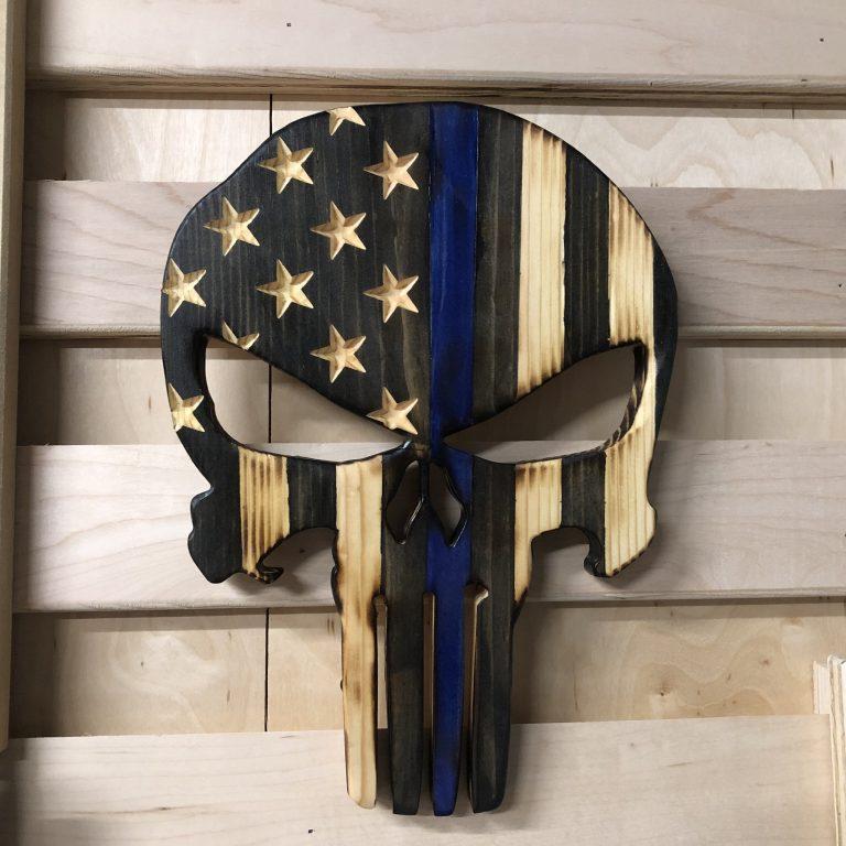 Wooden American Flag Punisher Skull Thin Blue Line