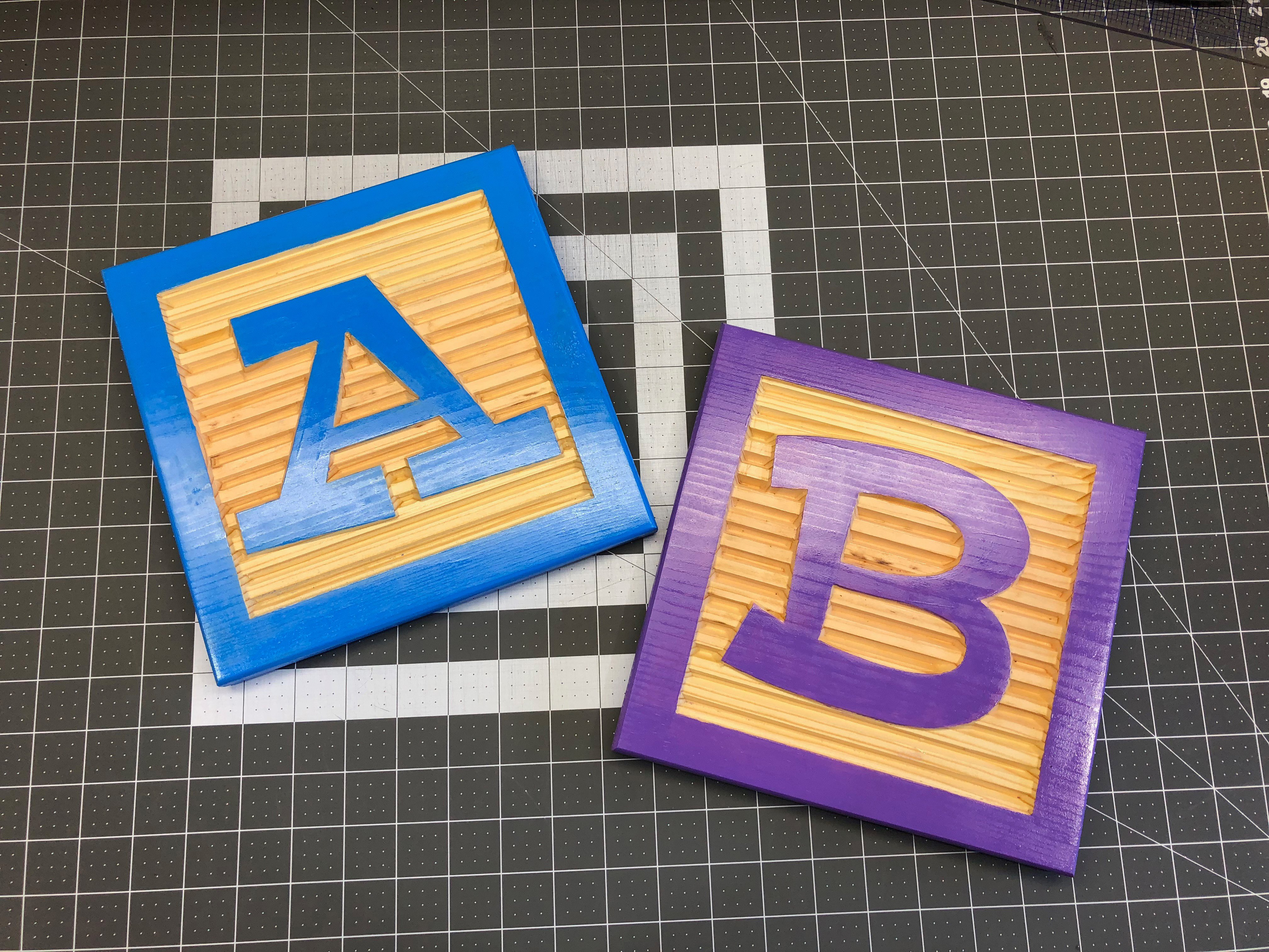 Wooden Letter Alphabet Block Faces For Nursery Or Kids Room