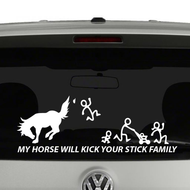 My Horse Will Kick Your Stick Figure Family Vinyl Decal Sticker