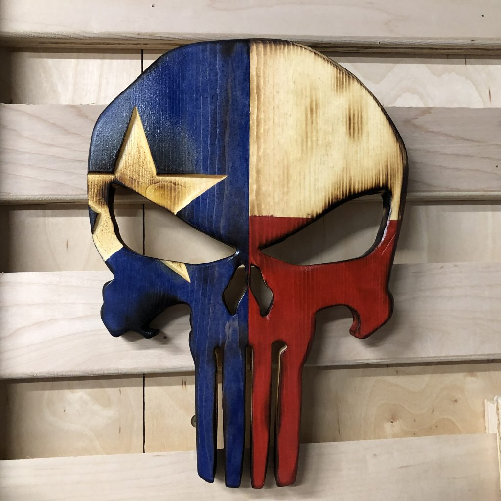 Wooden Rustic Texan Texas Flag Punisher Skull Cosmic