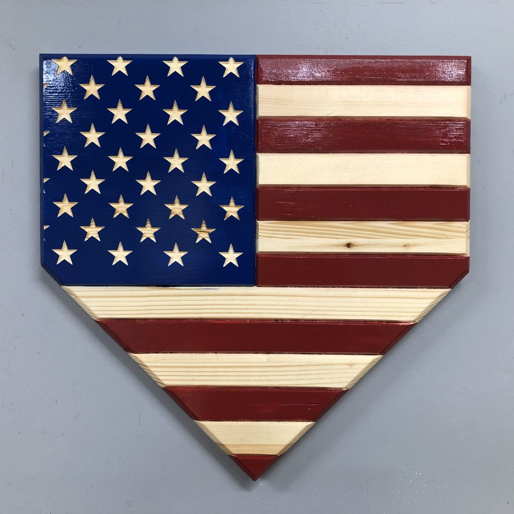 Wooden Baseball Home Plate American Flag Cosmic Frogs Vinyl