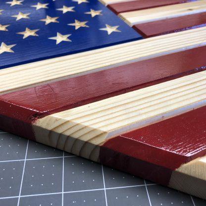 Wooden Baseball Home Plate American Flag