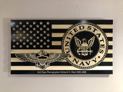 Wooden Carved American Flag Navy and Rank Insignia
