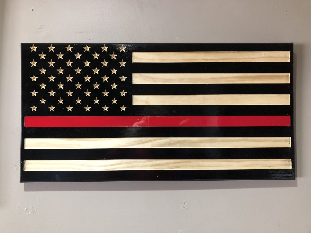 Wooden Carved American Flag Epoxy Filled Thin Red Blue