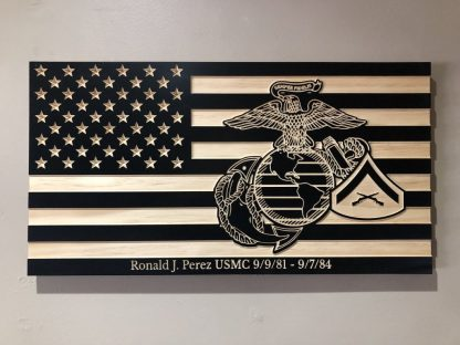 Wooden Carved American Flag Marine Corps EGA Rank Insignia