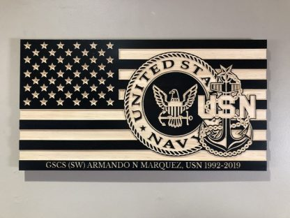 Wooden Carved American Flag Navy Emblem and Rank Insignia