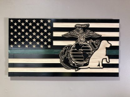 Wooden Carved American Flag Marine Corps EGA Service Dog