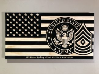 Wooden Carved American Flag Army and Rank Insignia