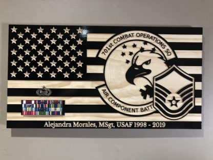 Wooden Carved American Flag Air Force Emblem and Rank Insignia