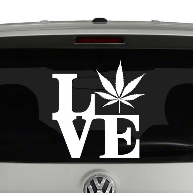Love Marijuana Cannabis Pot Leaf Vinyl Decal Sticker